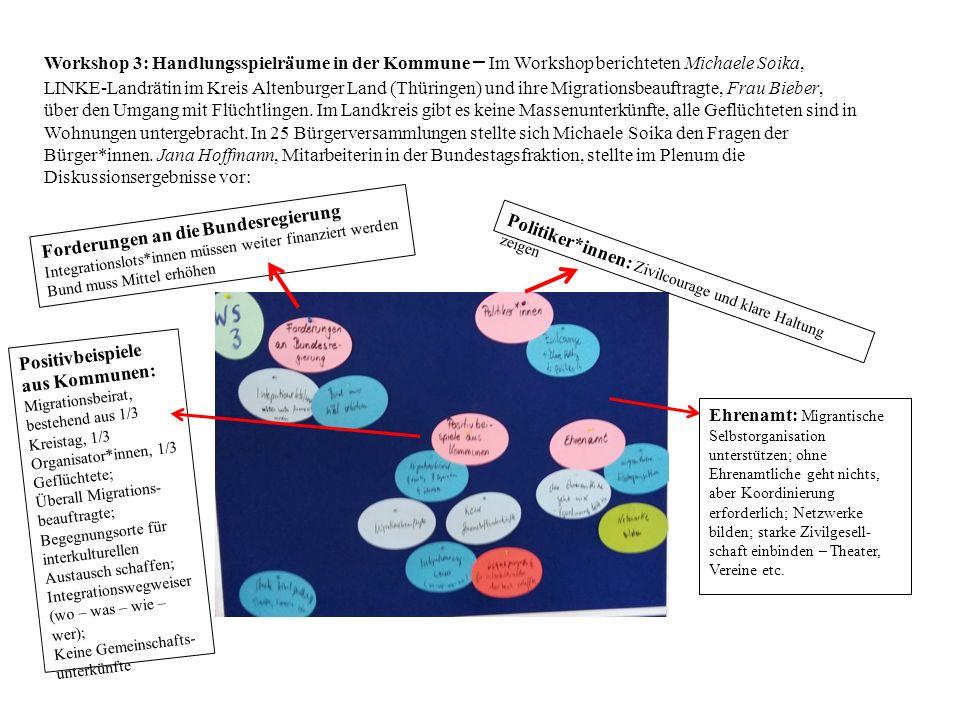Workshop 3: Handlungsspielräume in der Kommune – Im Workshop berichteten Michaele Soika, LINKE-Landrätin im Kreis Altenburger Land (Thüringen) und ihre Migrationsbeauftragte, Frau Bieber, über den Umgang mit Flüchtlingen.