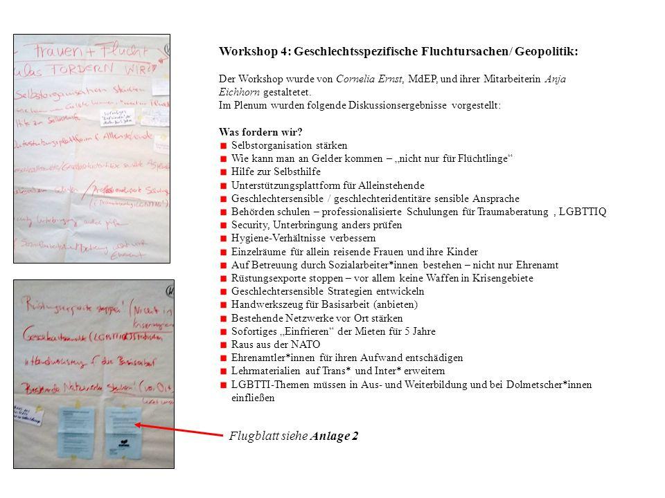 Workshop 4: Geschlechtsspezifische Fluchtursachen/ Geopolitik: Der Workshop wurde von Cornelia Ernst, MdEP, und ihrer Mitarbeiterin Anja Eichhorn gestaltetet.