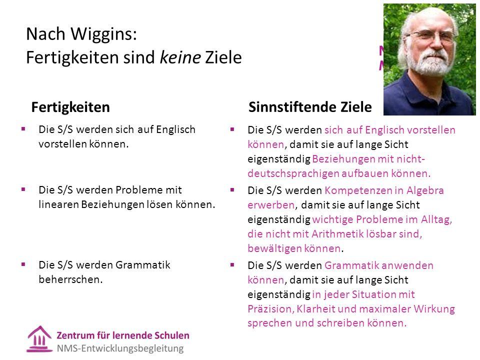 Nach Wiggins: Fertigkeiten sind keine Ziele Fertigkeiten  Die S/S werden sich auf Englisch vorstellen können.  Die S/S werden Probleme mit linearen