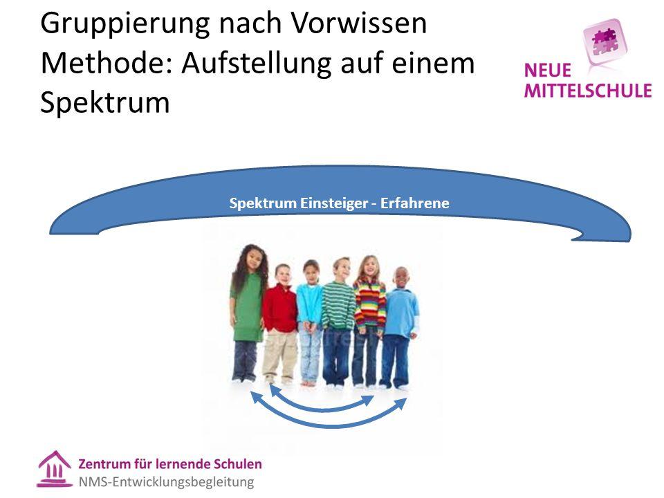 Gruppierung nach Vorwissen Methode: Aufstellung auf einem Spektrum Spektrum Einsteiger - Erfahrene