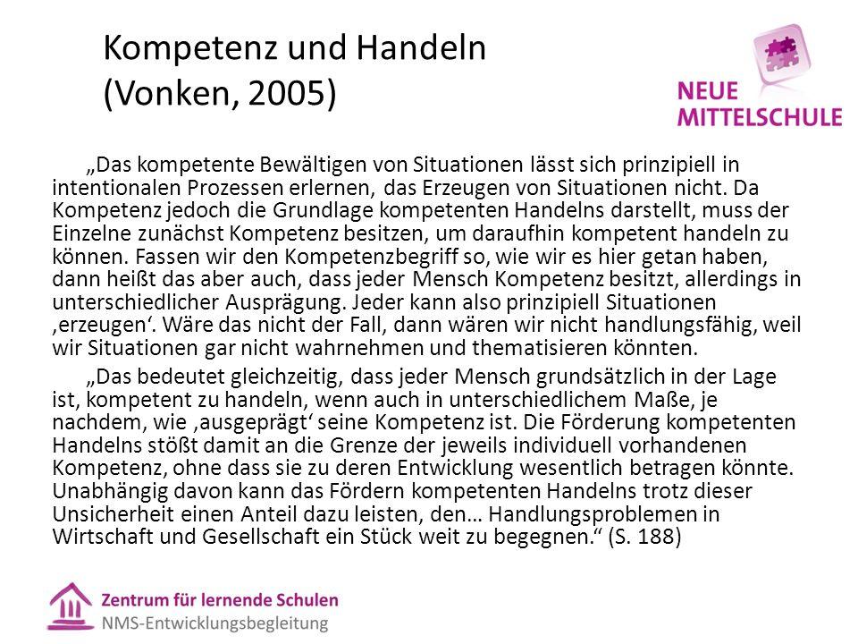 """Kompetenz und Handeln (Vonken, 2005) """"Das kompetente Bewältigen von Situationen lässt sich prinzipiell in intentionalen Prozessen erlernen, das Erzeug"""