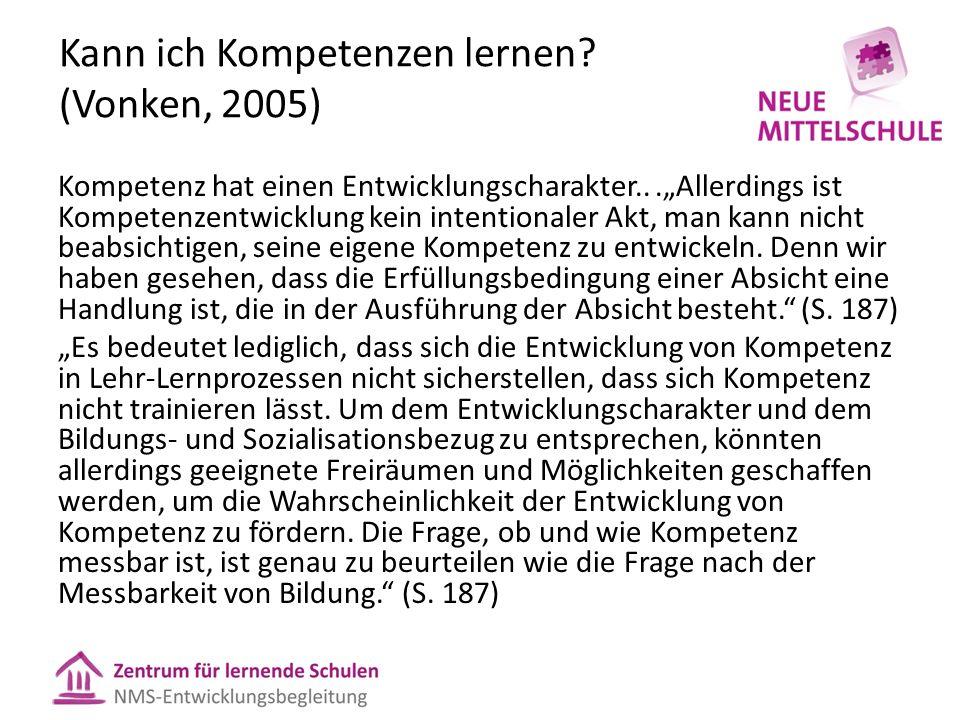 """Kann ich Kompetenzen lernen? (Vonken, 2005) Kompetenz hat einen Entwicklungscharakter...""""Allerdings ist Kompetenzentwicklung kein intentionaler Akt, m"""