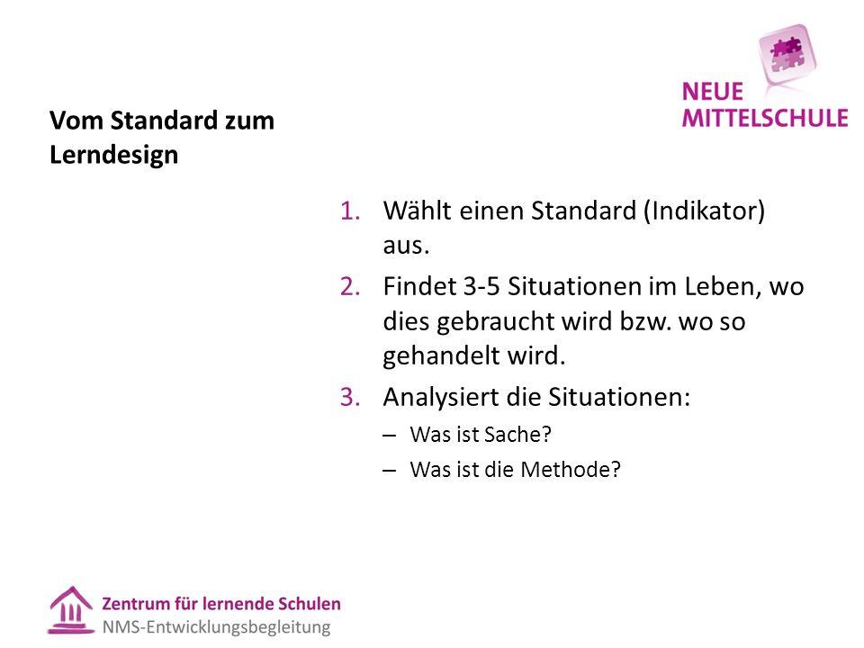 Vom Standard zum Lerndesign 1.Wählt einen Standard (Indikator) aus. 2.Findet 3-5 Situationen im Leben, wo dies gebraucht wird bzw. wo so gehandelt wir