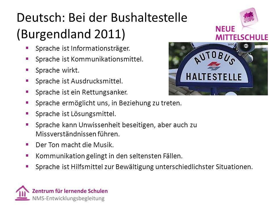Deutsch: Bei der Bushaltestelle (Burgendland 2011)  Sprache ist Informationsträger.  Sprache ist Kommunikationsmittel.  Sprache wirkt.  Sprache is