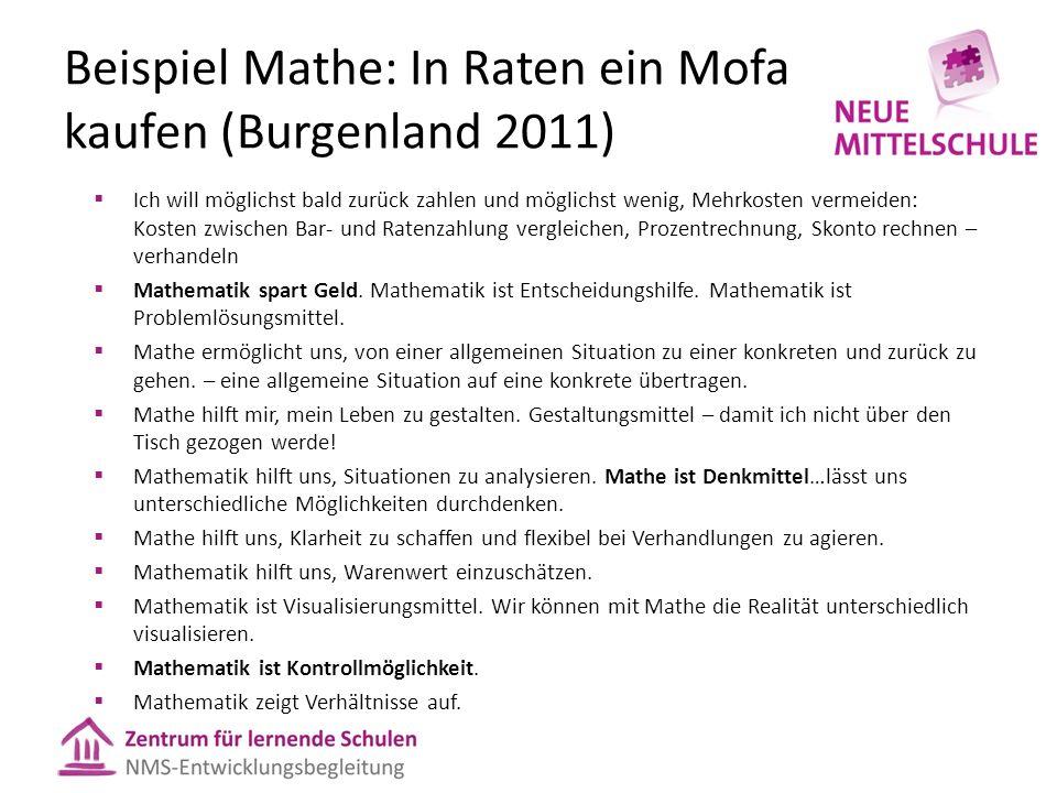 Beispiel Mathe: In Raten ein Mofa kaufen (Burgenland 2011)  Ich will möglichst bald zurück zahlen und möglichst wenig, Mehrkosten vermeiden: Kosten z