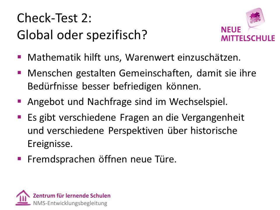 Check-Test 2: Global oder spezifisch?  Mathematik hilft uns, Warenwert einzuschätzen.  Menschen gestalten Gemeinschaften, damit sie ihre Bedürfnisse