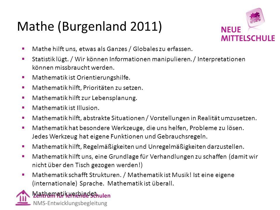 Mathe (Burgenland 2011)  Mathe hilft uns, etwas als Ganzes / Globales zu erfassen.  Statistik lügt. / Wir können Informationen manipulieren. / Inter