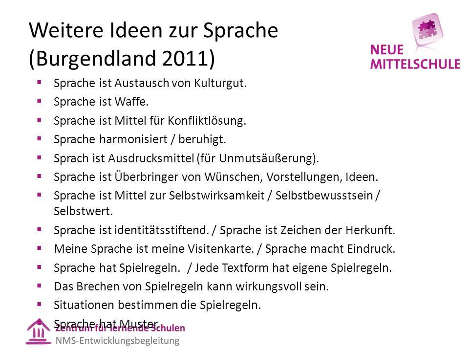 Weitere Ideen zur Sprache (Burgendland 2011)  Sprache ist Austausch von Kulturgut.  Sprache ist Waffe.  Sprache ist Mittel für Konfliktlösung.  Sp
