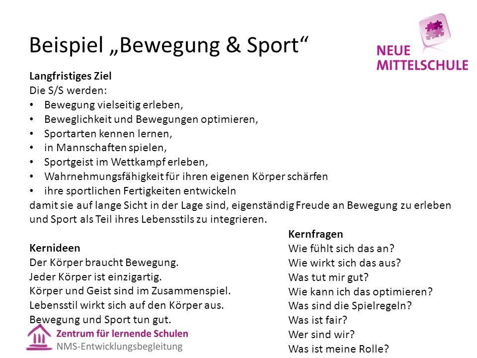 """Beispiel """"Bewegung & Sport"""" Langfristiges Ziel Die S/S werden: Bewegung vielseitig erleben, Beweglichkeit und Bewegungen optimieren, Sportarten kennen"""
