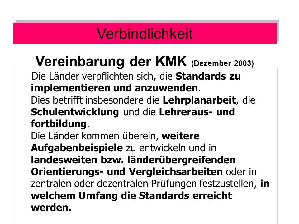 Vereinbarung der KMK (Dezember 2003) Die Länder verpflichten sich, die Standards zu implementieren und anzuwenden.