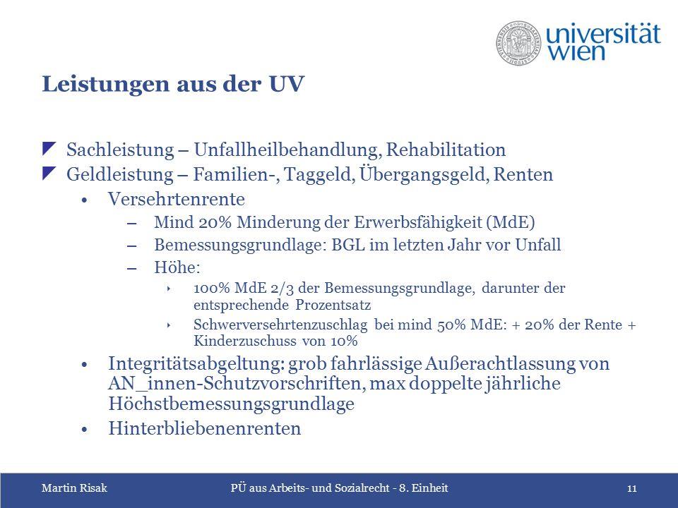 Martin RisakPÜ aus Arbeits- und Sozialrecht - 8. Einheit11 Leistungen aus der UV  Sachleistung – Unfallheilbehandlung, Rehabilitation  Geldleistung