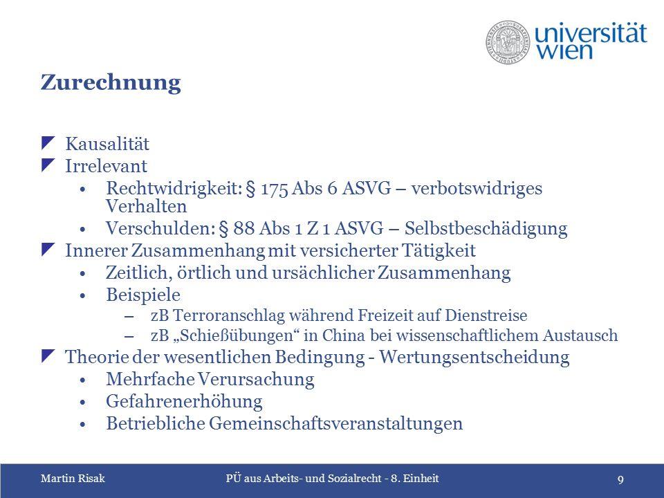 Martin RisakPÜ aus Arbeits- und Sozialrecht - 8. Einheit9 Zurechnung  Kausalität  Irrelevant Rechtwidrigkeit: § 175 Abs 6 ASVG – verbotswidriges Ver