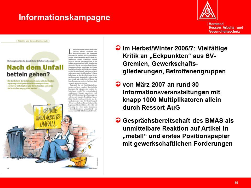 """Vorstand Ressort Arbeits- und Gesundheitsschutz 49 Informationskampagne Im Herbst/Winter 2006/7: Vielfältige Kritik an """"Eckpunkten"""" aus SV- Gremien, G"""