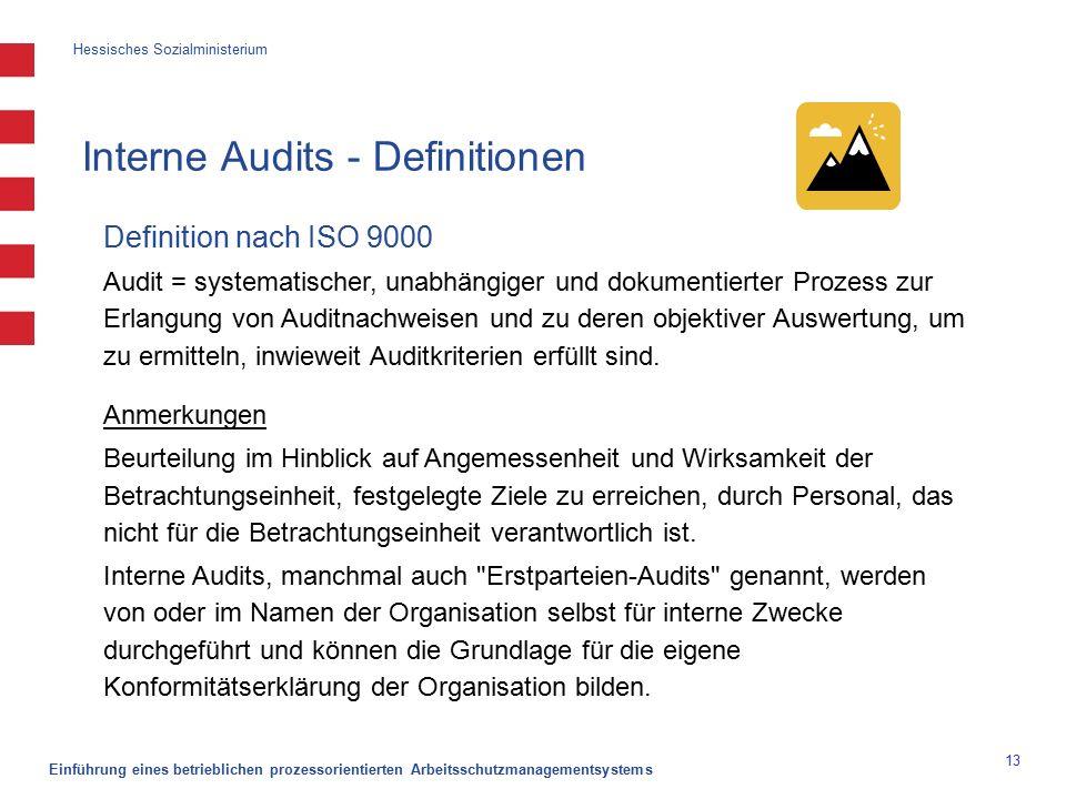 Hessisches Sozialministerium Einführung eines betrieblichen prozessorientierten Arbeitsschutzmanagementsystems 13 Interne Audits - Definitionen Definition nach ISO 9000 Audit = systematischer, unabhängiger und dokumentierter Prozess zur Erlangung von Auditnachweisen und zu deren objektiver Auswertung, um zu ermitteln, inwieweit Auditkriterien erfüllt sind.