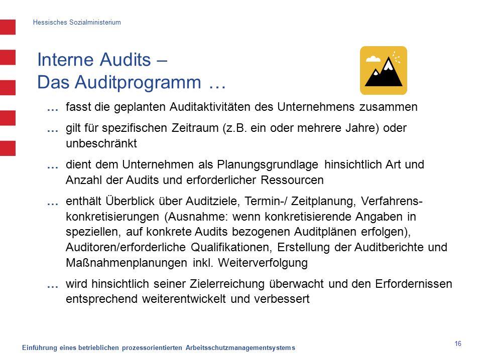 Hessisches Sozialministerium Einführung eines betrieblichen prozessorientierten Arbeitsschutzmanagementsystems 16 Interne Audits – Das Auditprogramm … … fasst die geplanten Auditaktivitäten des Unternehmens zusammen … gilt für spezifischen Zeitraum (z.B.