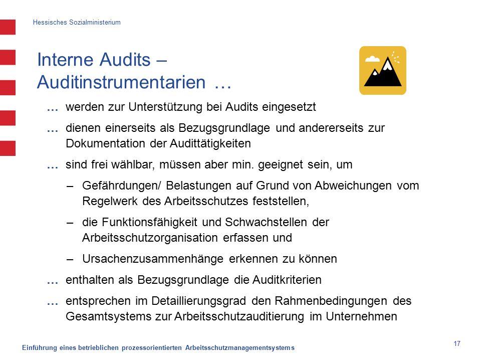 Hessisches Sozialministerium Einführung eines betrieblichen prozessorientierten Arbeitsschutzmanagementsystems 17 Interne Audits – Auditinstrumentarien … … werden zur Unterstützung bei Audits eingesetzt … dienen einerseits als Bezugsgrundlage und andererseits zur Dokumentation der Audittätigkeiten … sind frei wählbar, müssen aber min.