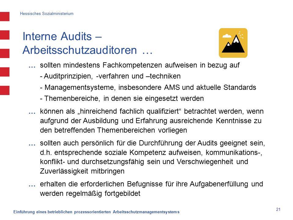 """Hessisches Sozialministerium Einführung eines betrieblichen prozessorientierten Arbeitsschutzmanagementsystems 21 Interne Audits – Arbeitsschutzauditoren … … sollten mindestens Fachkompetenzen aufweisen in bezug auf - Auditprinzipien, -verfahren und –techniken - Managementsysteme, insbesondere AMS und aktuelle Standards - Themenbereiche, in denen sie eingesetzt werden … können als """"hinreichend fachlich qualifiziert betrachtet werden, wenn aufgrund der Ausbildung und Erfahrung ausreichende Kenntnisse zu den betreffenden Themenbereichen vorliegen … sollten auch persönlich für die Durchführung der Audits geeignet sein, d.h."""