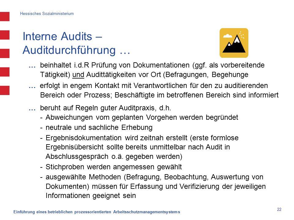Hessisches Sozialministerium Einführung eines betrieblichen prozessorientierten Arbeitsschutzmanagementsystems 22 Interne Audits – Auditdurchführung … … beinhaltet i.d.R Prüfung von Dokumentationen (ggf.