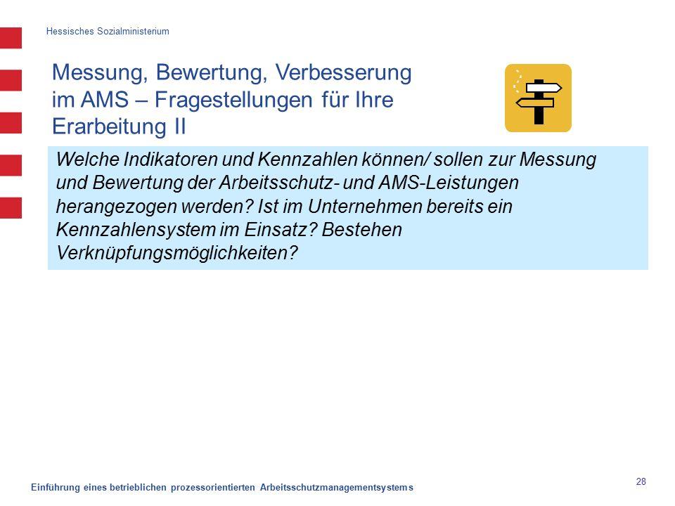 Hessisches Sozialministerium Einführung eines betrieblichen prozessorientierten Arbeitsschutzmanagementsystems 28 Welche Indikatoren und Kennzahlen können/ sollen zur Messung und Bewertung der Arbeitsschutz- und AMS-Leistungen herangezogen werden.