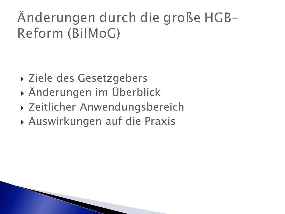 Änderungen durch die große HGB- Reform (BilMoG)  Ziele des Gesetzgebers  Änderungen im Überblick  Zeitlicher Anwendungsbereich  Auswirkungen auf die Praxis