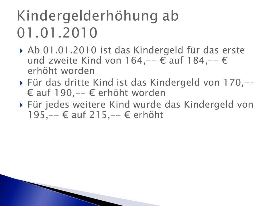  Ab 01.01.2010 ist das Kindergeld für das erste und zweite Kind von 164,-- € auf 184,-- € erhöht worden  Für das dritte Kind ist das Kindergeld von 170,-- € auf 190,-- € erhöht worden  Für jedes weitere Kind wurde das Kindergeld von 195,-- € auf 215,-- € erhöht