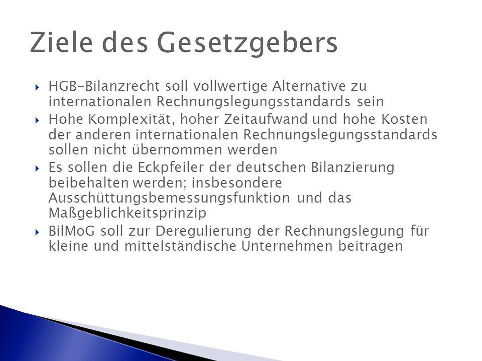 Ziele des Gesetzgebers  HGB-Bilanzrecht soll vollwertige Alternative zu internationalen Rechnungslegungsstandards sein  Hohe Komplexität, hoher Zeitaufwand und hohe Kosten der anderen internationalen Rechnungslegungsstandards sollen nicht übernommen werden  Es sollen die Eckpfeiler der deutschen Bilanzierung beibehalten werden; insbesondere Ausschüttungsbemessungsfunktion und das Maßgeblichkeitsprinzip  BilMoG soll zur Deregulierung der Rechnungslegung für kleine und mittelständische Unternehmen beitragen
