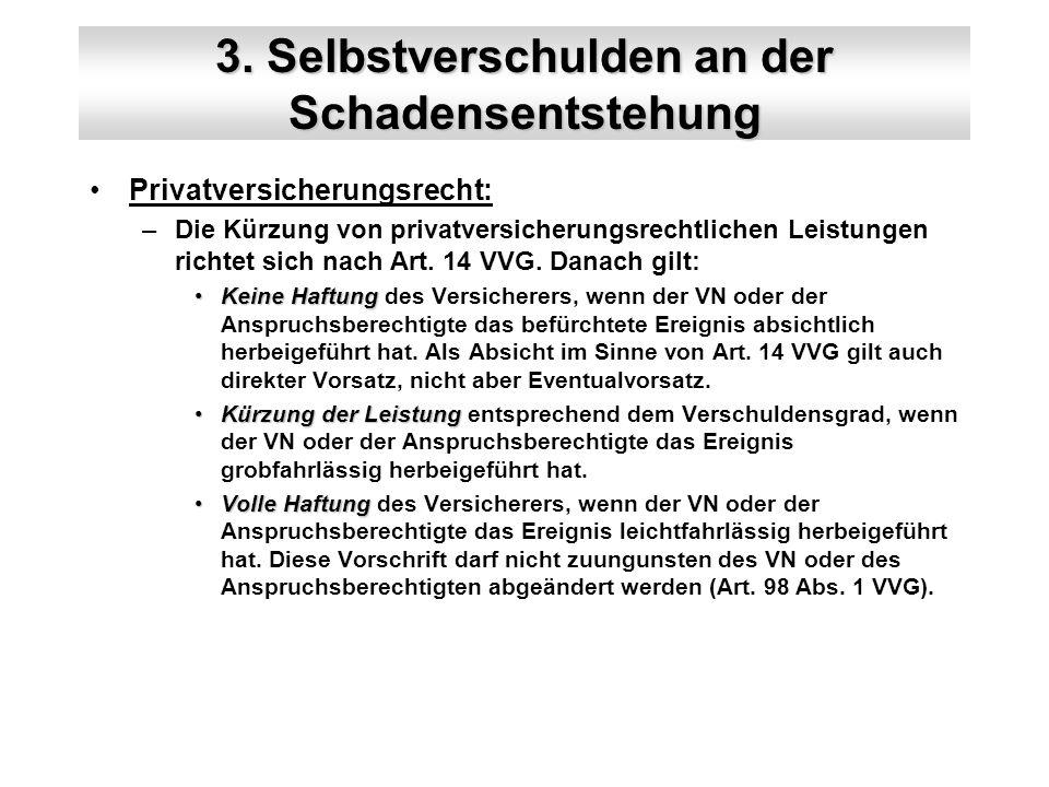 3. Selbstverschulden an der Schadensentstehung Privatversicherungsrecht: –Die Kürzung von privatversicherungsrechtlichen Leistungen richtet sich nach