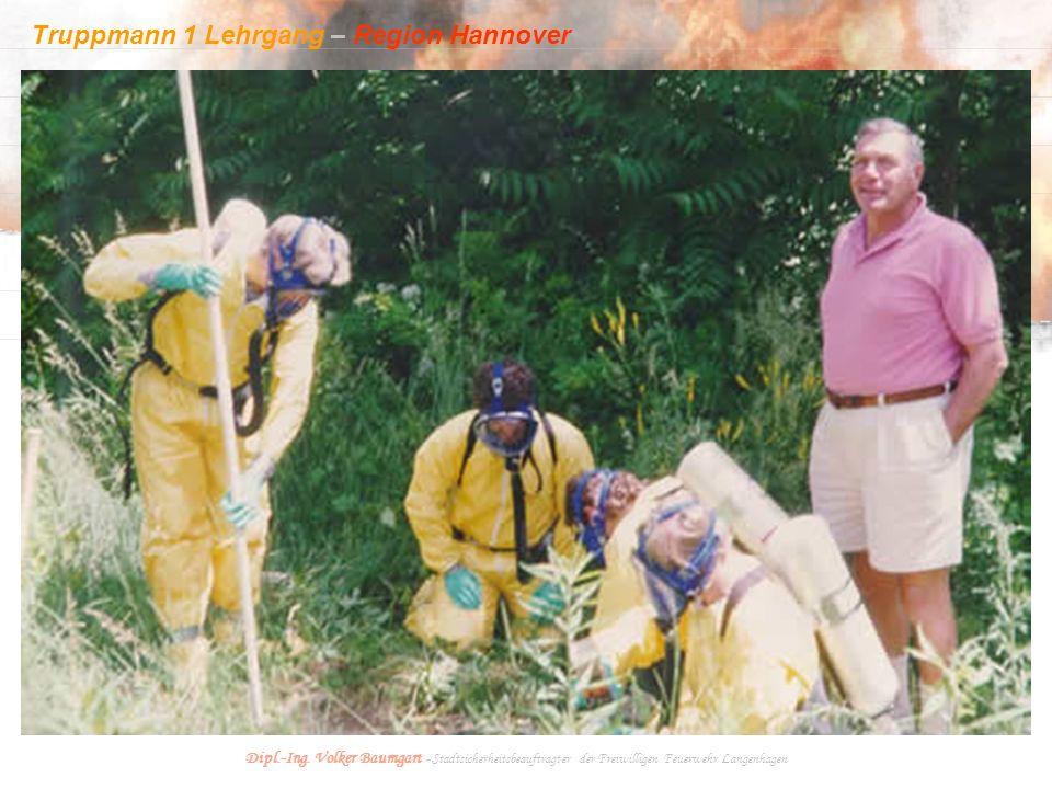 Truppmann 1 Lehrgang – Region Hannover Dipl.-Ing. Volker Baumgart - Stadtsicherheitsbeauftragter der Freiwilligen Feuerwehr Langenhagen Der gesetzlich