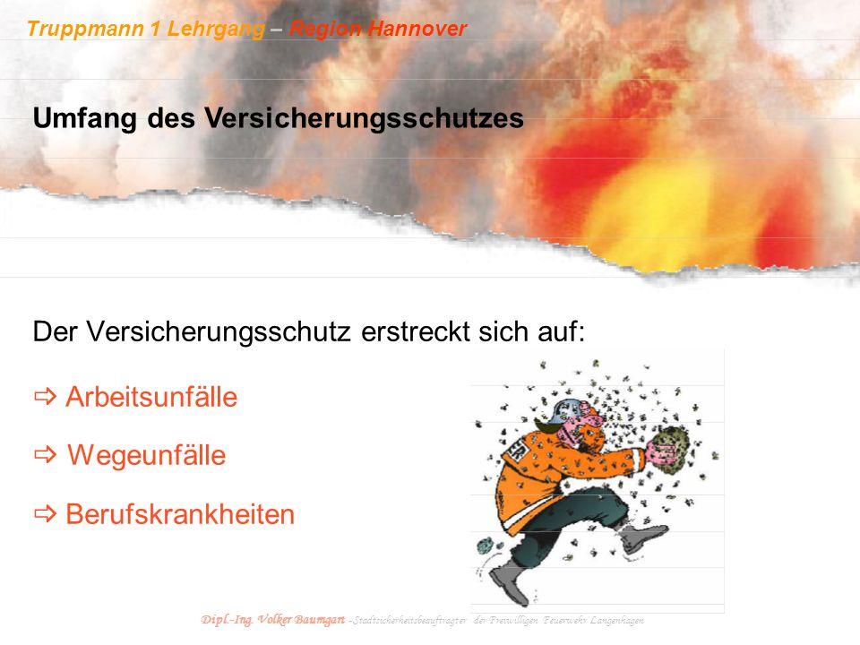 Truppmann 1 Lehrgang – Region Hannover Dipl.-Ing. Volker Baumgart - Stadtsicherheitsbeauftragter der Freiwilligen Feuerwehr Langenhagen Der Versicheru