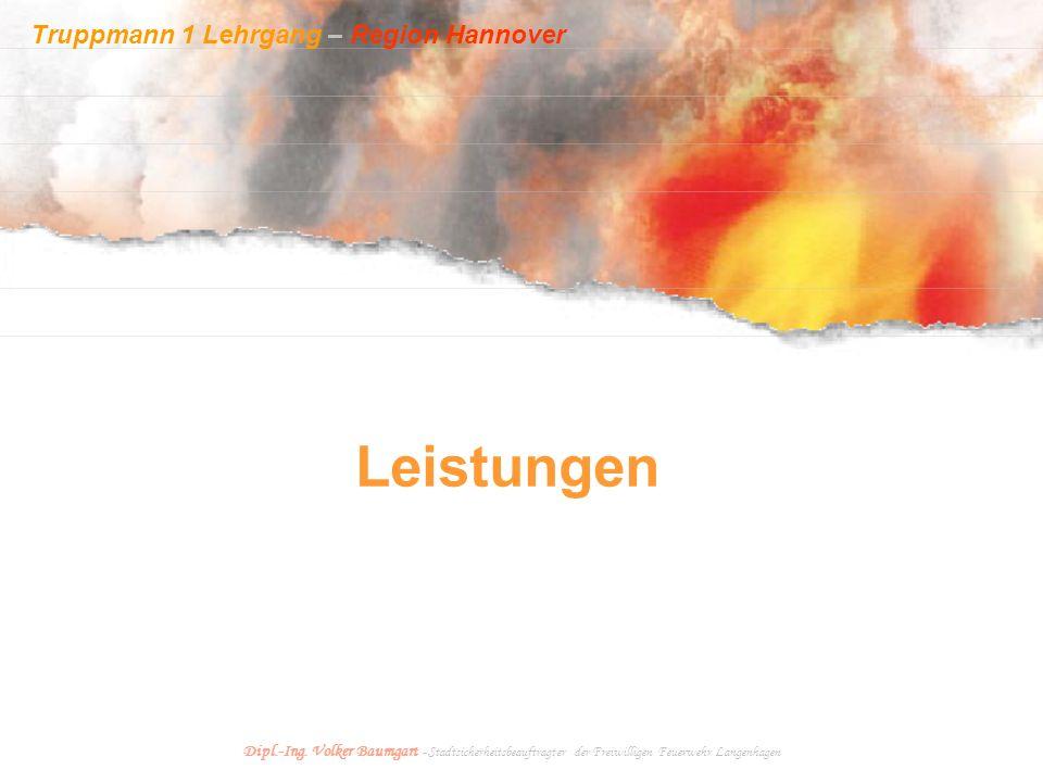 Truppmann 1 Lehrgang – Region Hannover Dipl.-Ing. Volker Baumgart - Stadtsicherheitsbeauftragter der Freiwilligen Feuerwehr Langenhagen Leistungen
