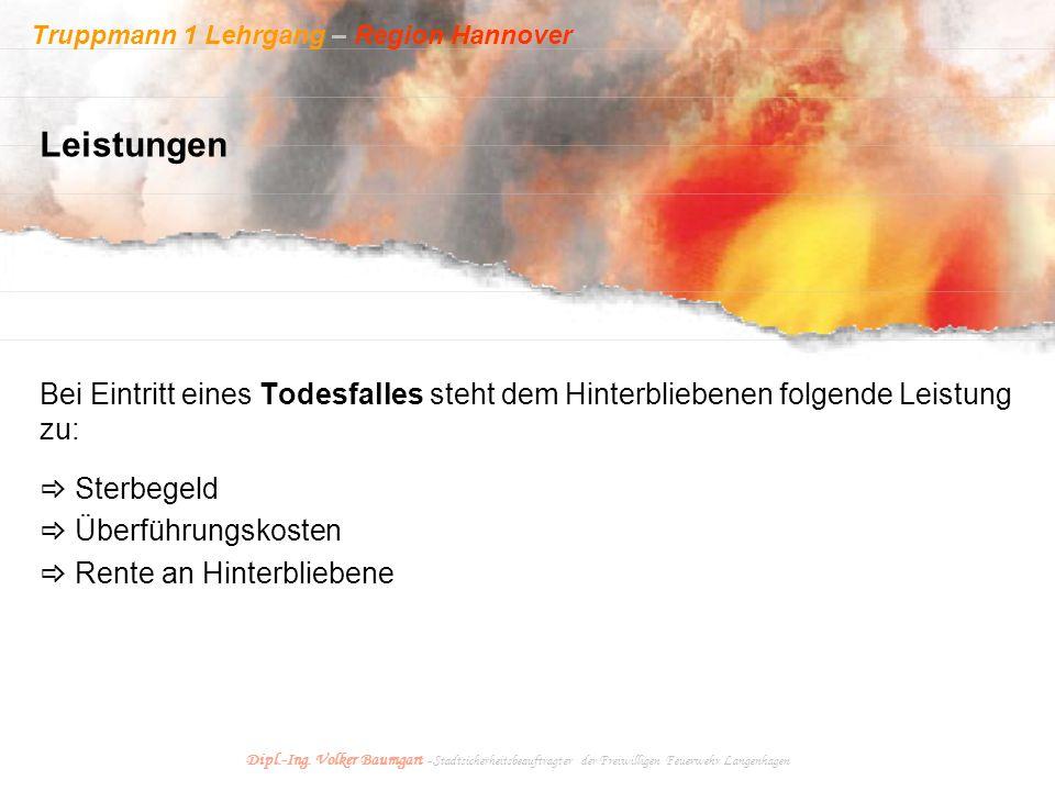Truppmann 1 Lehrgang – Region Hannover Dipl.-Ing. Volker Baumgart - Stadtsicherheitsbeauftragter der Freiwilligen Feuerwehr Langenhagen Bei Eintritt e