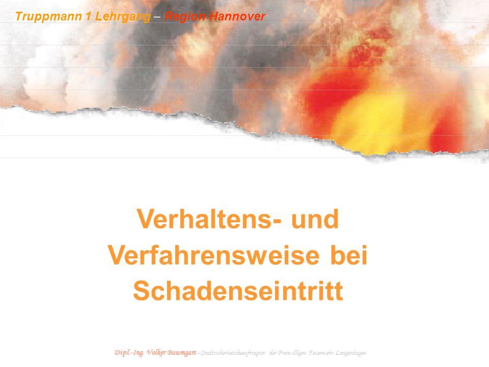 Truppmann 1 Lehrgang – Region Hannover Dipl.-Ing. Volker Baumgart - Stadtsicherheitsbeauftragter der Freiwilligen Feuerwehr Langenhagen Verhaltens- un