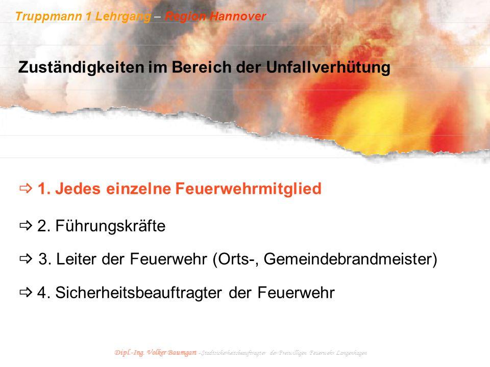 Truppmann 1 Lehrgang – Region Hannover Dipl.-Ing. Volker Baumgart - Stadtsicherheitsbeauftragter der Freiwilligen Feuerwehr Langenhagen Zuständigkeite
