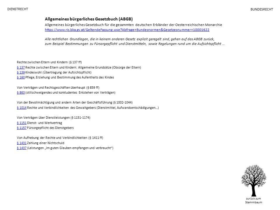 """Allgemeines bürgerliches Gesetzbuch (ABGB) Allgemeines bürgerliches Gesetzbuch für die gesammten deutschen Erbländer der Oesterreichischen Monarchie https://www.ris.bka.gv.at/GeltendeFassung.wxe Abfrage=Bundesnormen&Gesetzesnummer=10001622 Alle rechtlichen Grundlagen, die in keinem anderen Gesetz explizit geregelt sind, gehen auf das ABGB zurück, zum Beispiel Bestimmungen zu Fürsorgepflicht und Dienstmitteln, sowie Regelungen rund um die Aufsichtspflicht … https://www.ris.bka.gv.at/GeltendeFassung.wxe Abfrage=Bundesnormen&Gesetzesnummer=10001622 Rechte zwischen Eltern und Kindern (§ 137 ff) § 137§ 137 Rechte zwischen Eltern und Kindern: Allgemeine Grundsätze (Obsorge der Eltern) § 139§ 139 Kindeswohl (Übertragung der Aufsichtspflicht) § 160§ 160 Pflege, Erziehung und Bestimmung des Aufenthalts des Kindes Von Verträgen und Rechtsgeschäften überhaupt (§ 859 ff) § 863§ 863 (stillschweigendes und konkludentes Entstehen von Verträgen) Von der Bevollmächtigung und andern Arten der Geschäftsführung (§ 1002-1044) § 1014§ 1014 Rechte und Verbindlichkeiten des Gewaltgebers (Dienstmittel, Aufwandsentschädigungen…) Von Verträgen über Dienstleistungen (§ 1151-1174) § 1151§ 1151 Dienst- und Werkvertrag § 1157§ 1157 Fürsorgepflicht des Dienstgebers Von Aufhebung der Rechte und Verbindlichkeiten (§ 1411 ff) § 1431§ 1431 Zahlung einer Nichtschuld § 1437§ 1437 (Leistungen """"im guten Glauben empfangen und verbraucht ) DIENSTRECHT zurück zum Stammbaum BUNDESRECHT"""