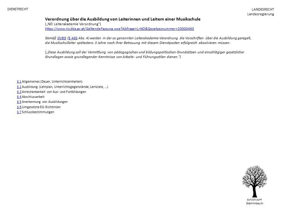 """Verordnung über die Ausbildung von Leiterinnen und Leitern einer Musikschule (""""NÖ Leiterakademie Verordnung ) https://www.ris.bka.gv.at/GeltendeFassung.wxe Abfrage=LrNO&Gesetzesnummer=20000460 Gemäß GVBG (§ 46b Abs."""