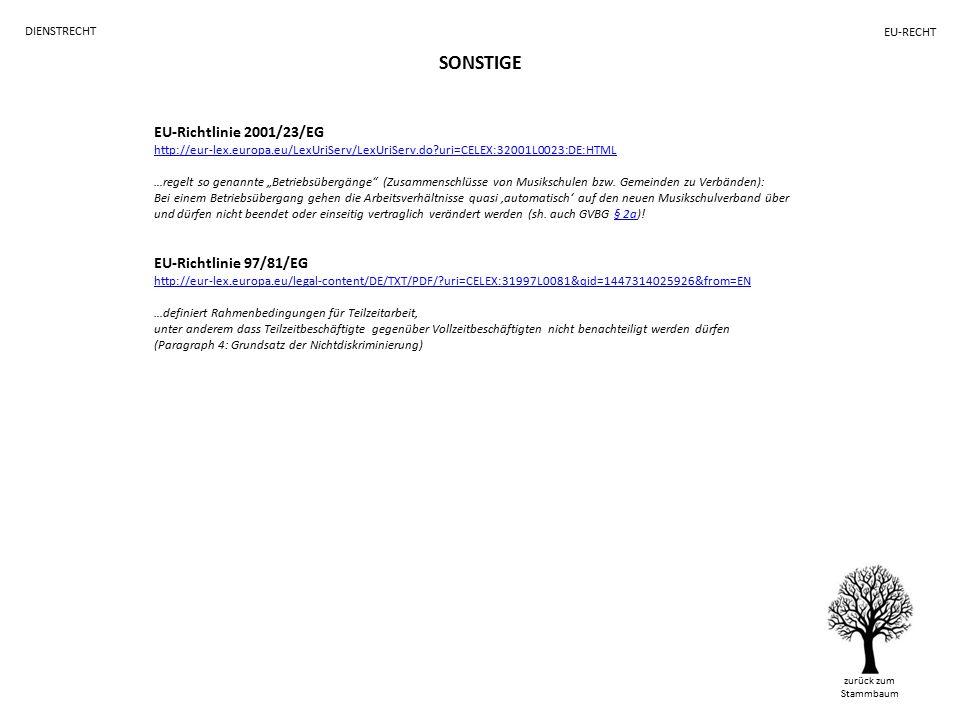 """SONSTIGE zurück zum Stammbaum DIENSTRECHT EU-RECHT EU-Richtlinie 2001/23/EG http://eur-lex.europa.eu/LexUriServ/LexUriServ.do uri=CELEX:32001L0023:DE:HTML …regelt so genannte """"Betriebsübergänge (Zusammenschlüsse von Musikschulen bzw."""