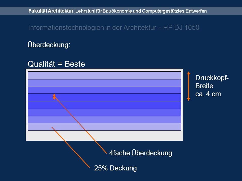 Fakultät Architektur, Lehrstuhl für Bauökonomie und Computergestütztes Entwerfen Informationstechnologien in der Architektur – HP DJ 1050 Überdeckung : Qualität = Beste Druckkopf- Breite ca.
