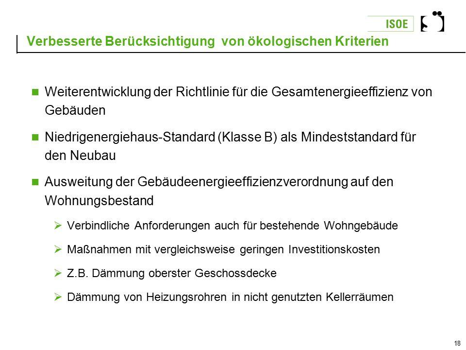 18 Verbesserte Berücksichtigung von ökologischen Kriterien Weiterentwicklung der Richtlinie für die Gesamtenergieeffizienz von Gebäuden Niedrigenergie