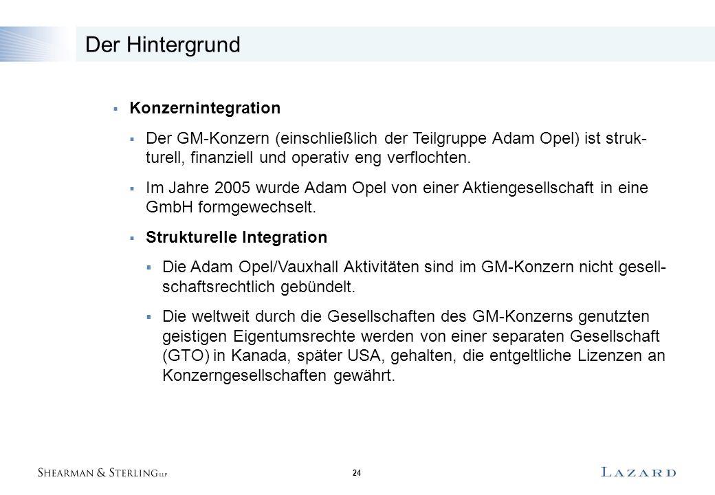 24 Der Hintergrund  Konzernintegration  Der GM-Konzern (einschließlich der Teilgruppe Adam Opel) ist struk- turell, finanziell und operativ eng verflochten.