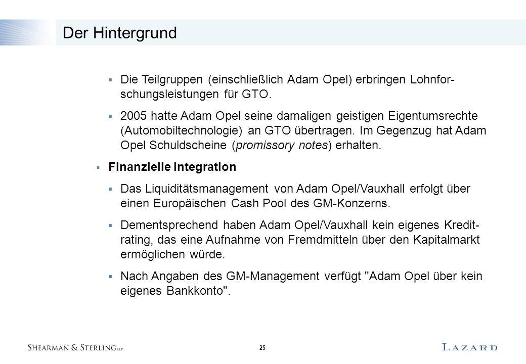 25 Der Hintergrund  Die Teilgruppen (einschließlich Adam Opel) erbringen Lohnfor- schungsleistungen für GTO.  2005 hatte Adam Opel seine damaligen g