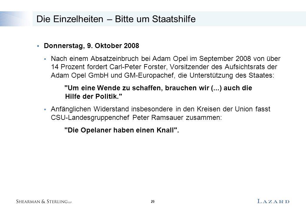 29 Die Einzelheiten – Bitte um Staatshilfe  Donnerstag, 9. Oktober 2008  Nach einem Absatzeinbruch bei Adam Opel im September 2008 von über 14 Proze