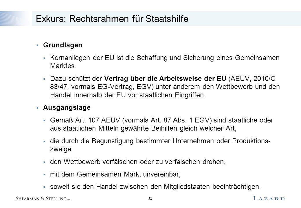 33 Exkurs: Rechtsrahmen für Staatshilfe  Grundlagen  Kernanliegen der EU ist die Schaffung und Sicherung eines Gemeinsamen Marktes.  Dazu schützt d