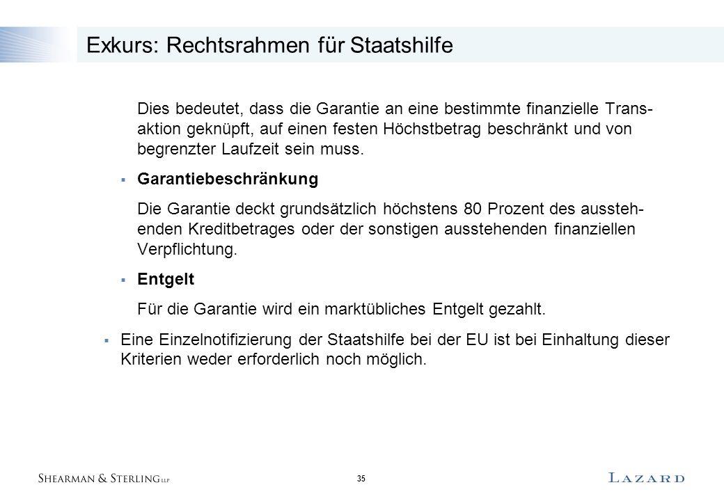 35 Exkurs: Rechtsrahmen für Staatshilfe Dies bedeutet, dass die Garantie an eine bestimmte finanzielle Trans- aktion geknüpft, auf einen festen Höchst