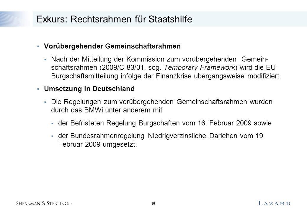 36 Exkurs: Rechtsrahmen für Staatshilfe  Vorübergehender Gemeinschaftsrahmen  Nach der Mitteilung der Kommission zum vorübergehenden Gemein- schaftsrahmen (2009/C 83/01, sog.