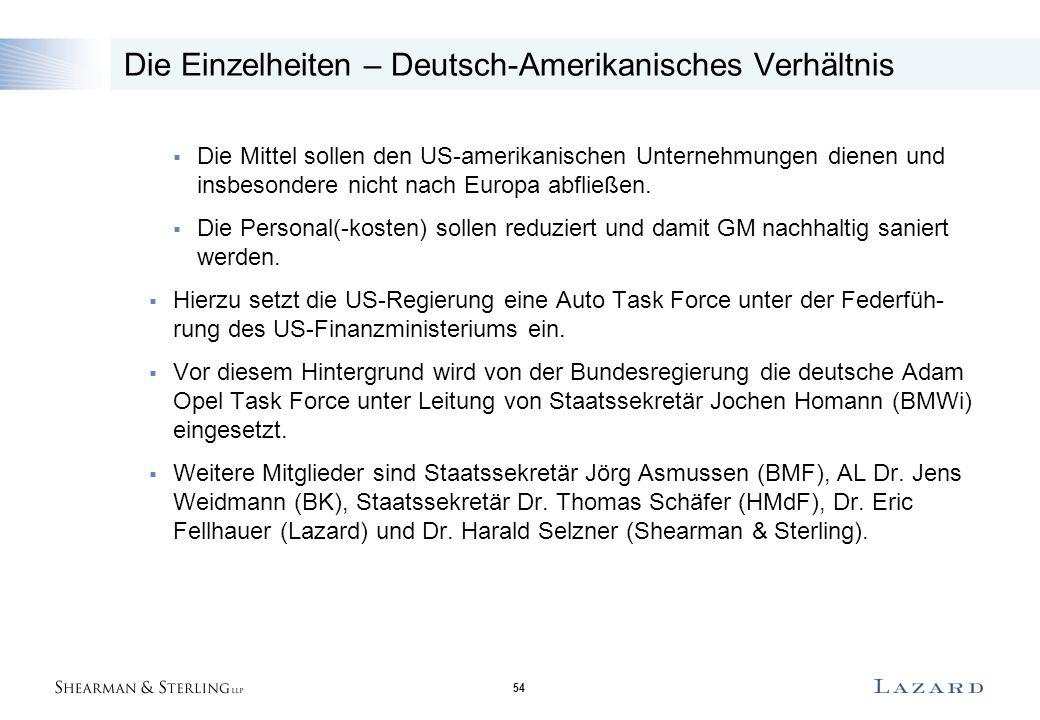 54 Die Einzelheiten – Deutsch-Amerikanisches Verhältnis  Die Mittel sollen den US-amerikanischen Unternehmungen dienen und insbesondere nicht nach Eu