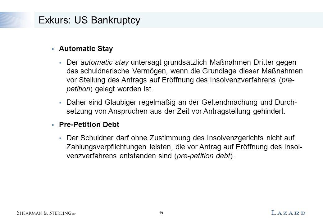 59 Exkurs: US Bankruptcy  Automatic Stay  Der automatic stay untersagt grundsätzlich Maßnahmen Dritter gegen das schuldnerische Vermögen, wenn die Grundlage dieser Maßnahmen vor Stellung des Antrags auf Eröffnung des Insolvenzverfahrens (pre- petition) gelegt worden ist.