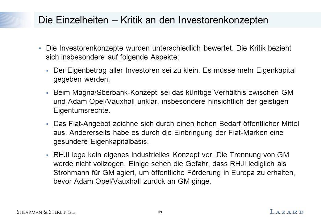 69 Die Einzelheiten – Kritik an den Investorenkonzepten  Die Investorenkonzepte wurden unterschiedlich bewertet. Die Kritik bezieht sich insbesondere