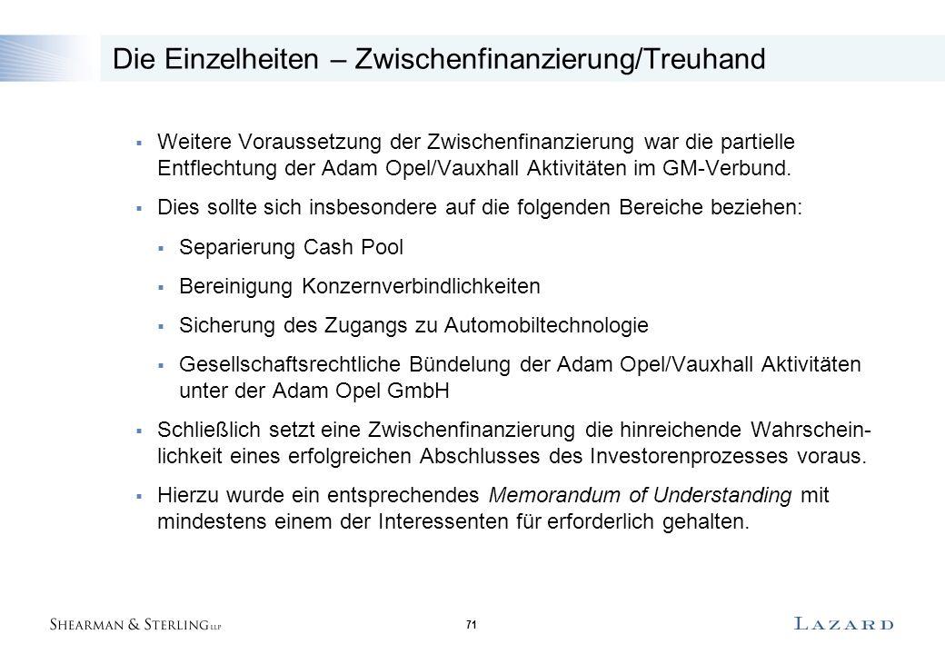 71 Die Einzelheiten – Zwischenfinanzierung/Treuhand  Weitere Voraussetzung der Zwischenfinanzierung war die partielle Entflechtung der Adam Opel/Vauxhall Aktivitäten im GM-Verbund.