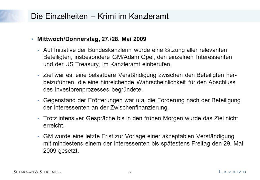 72 Die Einzelheiten – Krimi im Kanzleramt  Mittwoch/Donnerstag, 27./28. Mai 2009  Auf Initiative der Bundeskanzlerin wurde eine Sitzung aller releva