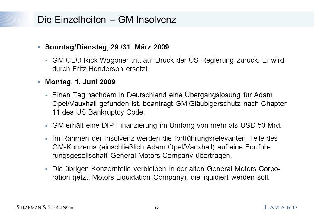 75 Die Einzelheiten – GM Insolvenz  Sonntag/Dienstag, 29./31. März 2009  GM CEO Rick Wagoner tritt auf Druck der US-Regierung zurück. Er wird durch